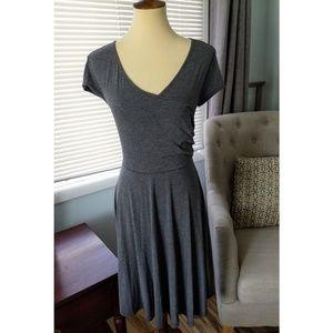 NWOT - Gray A-line, V-neck Faux Wrap Dress
